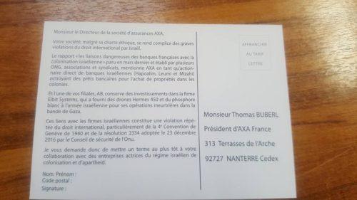 Axa N Assurez Pas L Apartheid Israélien Bds France